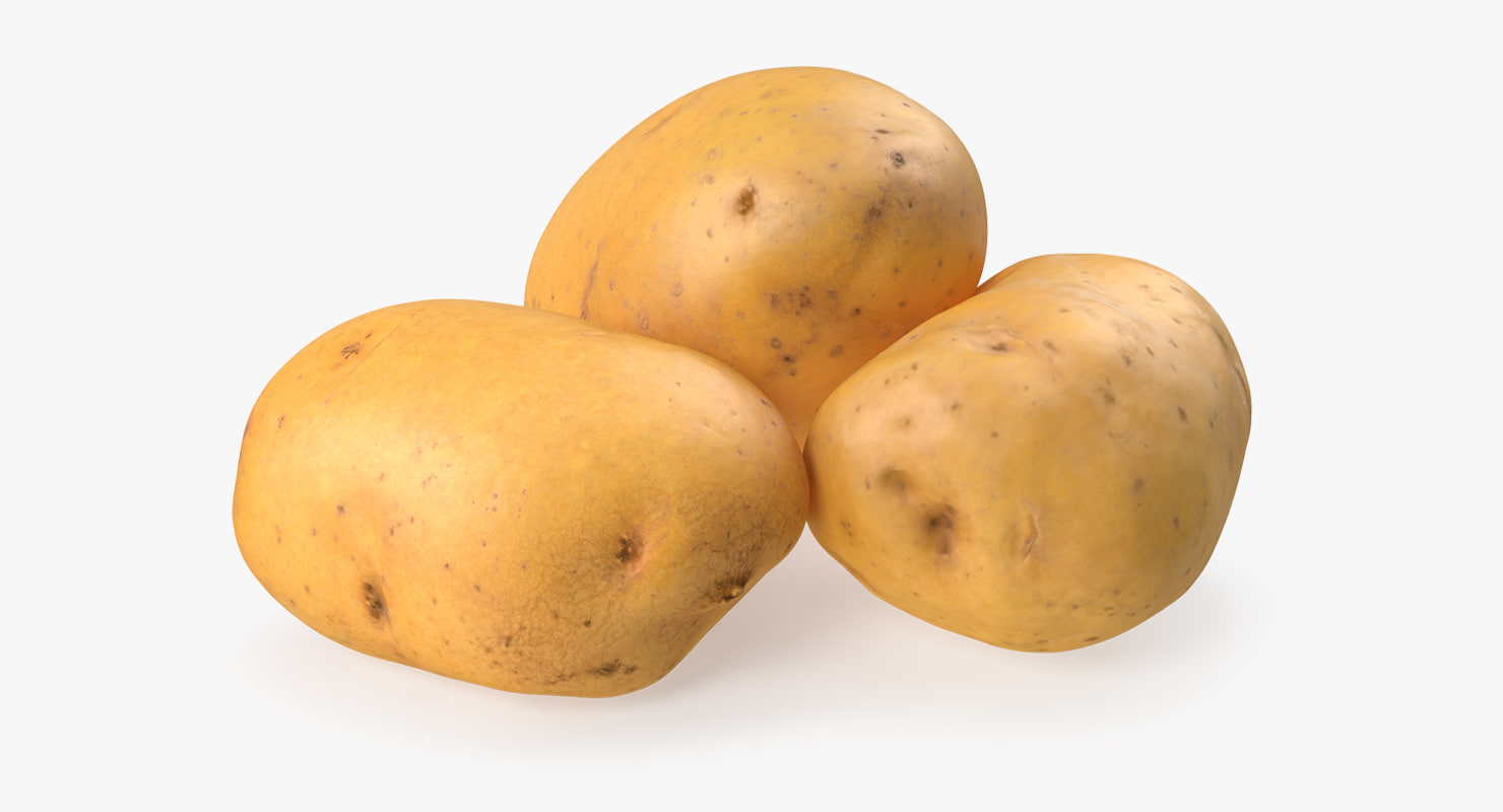 raw potatoes set 3D model