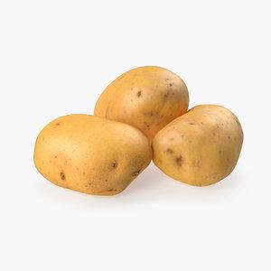 raw potatoes set 3D model