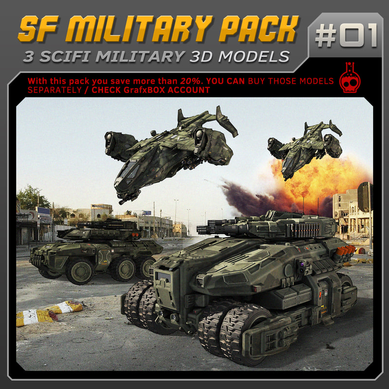 3D model scifi military vehicles sf
