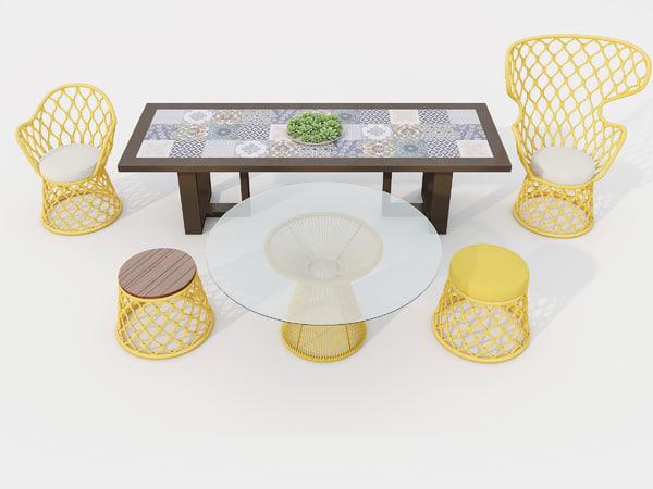 tidelli outdoor furniture set 3D