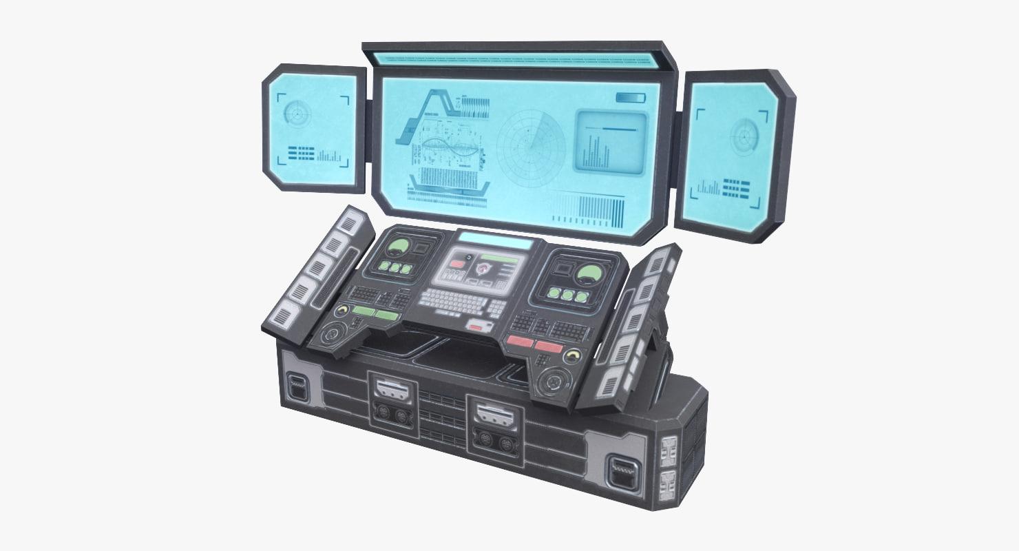 3D sci-fi control panel model