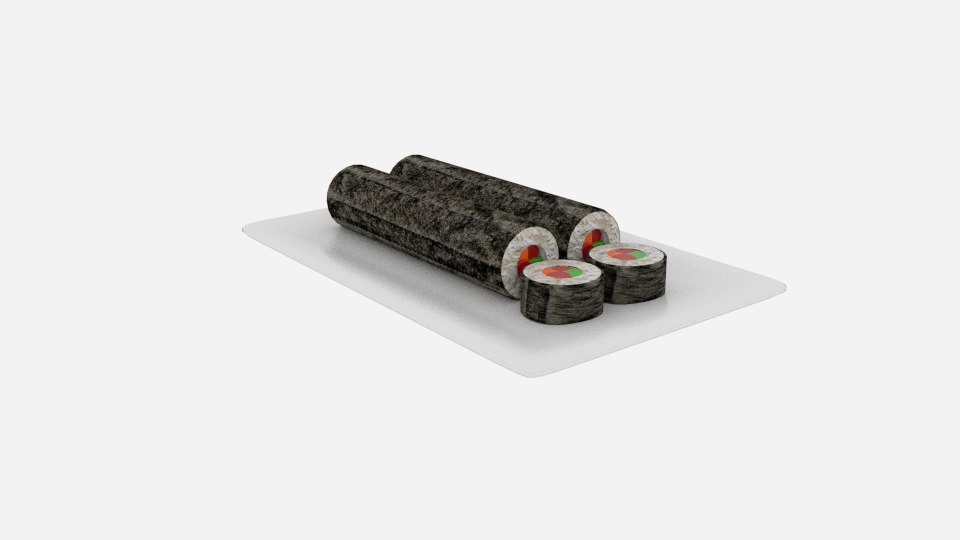 sushi long roll sliced model