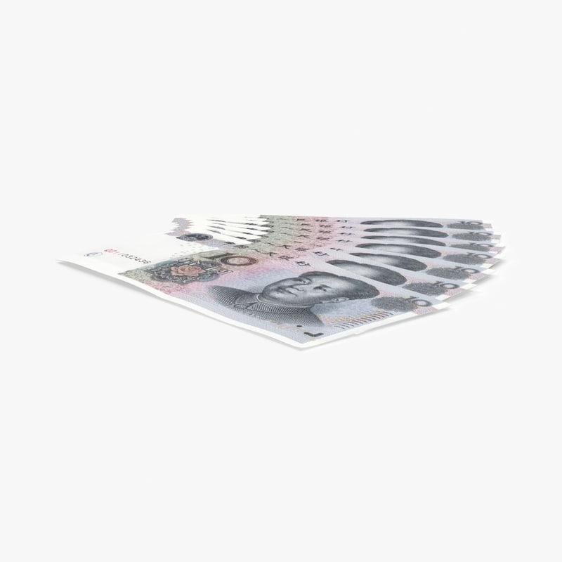 10-yuan-note---fanned 3D model