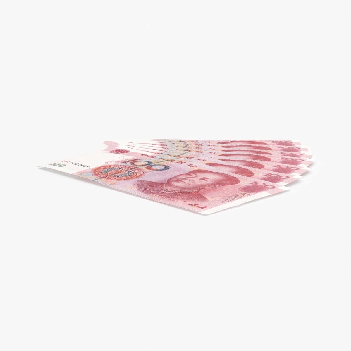 100-yuan-note---fanned 3D model