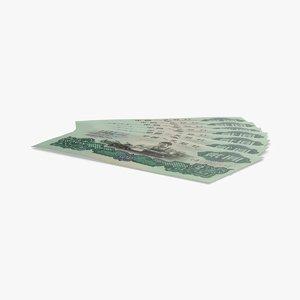 3D 2-yuan-note---fanned model
