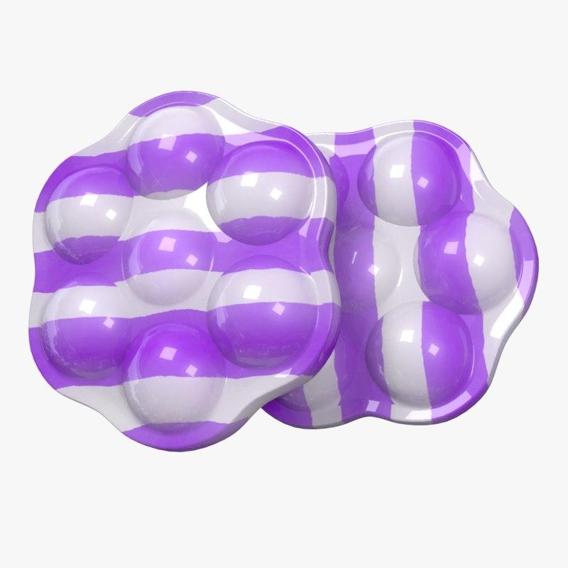 candy stripe purple 3D model