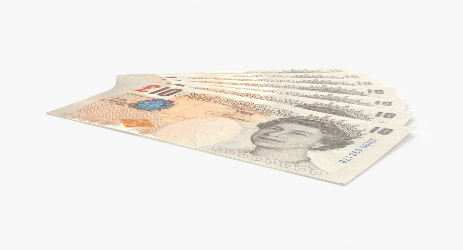 10-pound-note---fanned 3D model
