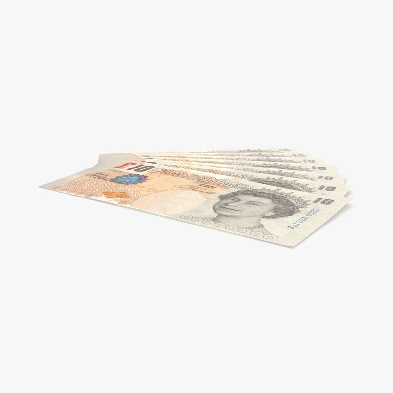 10-pound-note---fanned 3D model