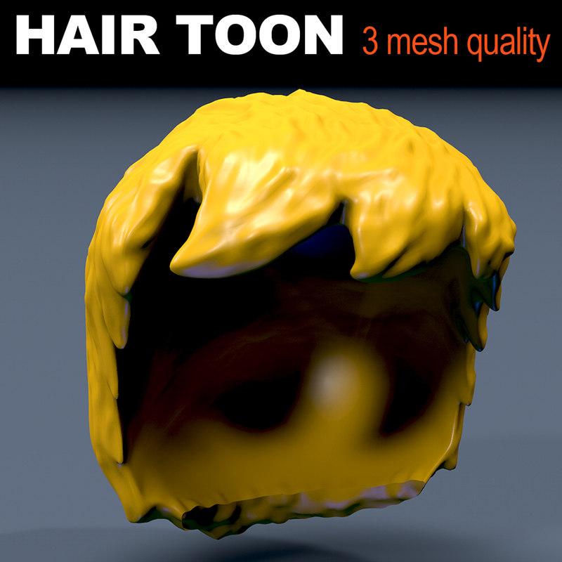 hair toon qualities mesh 3D model