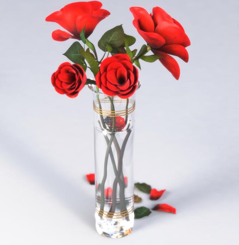 3D model vase roses