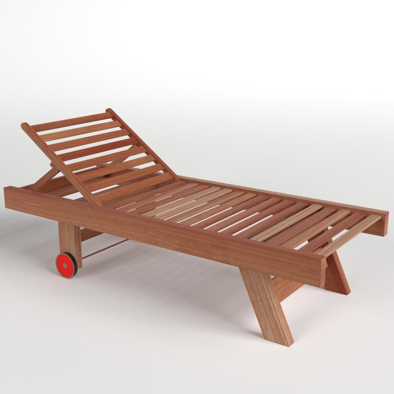 3D model wooden sun lounger 1