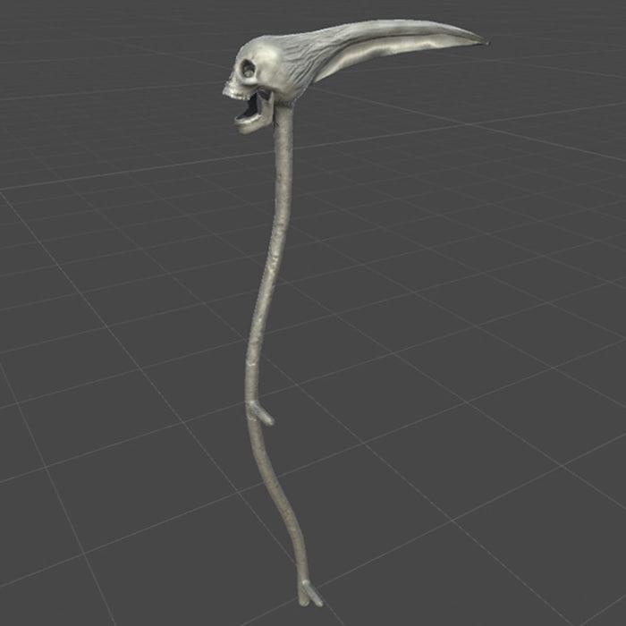 3D scythe bone skull