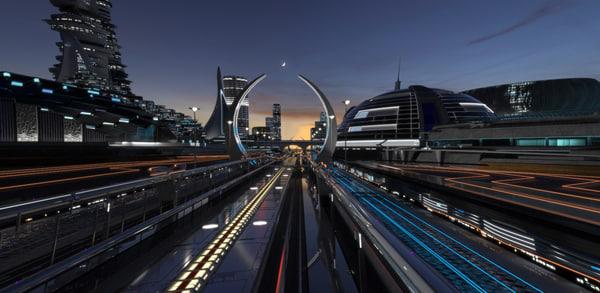 3D night future city