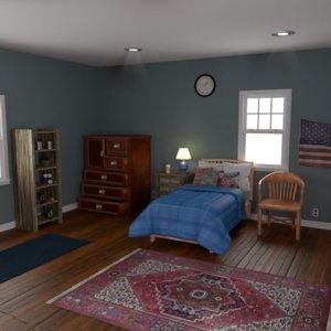 3D model realistic bedroom home room