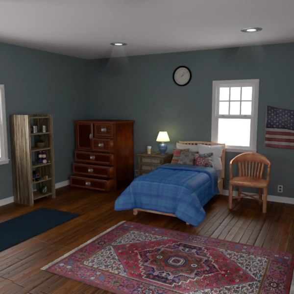 3D model realistic bedroom home room