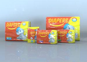 plastic diaper packs 3D model