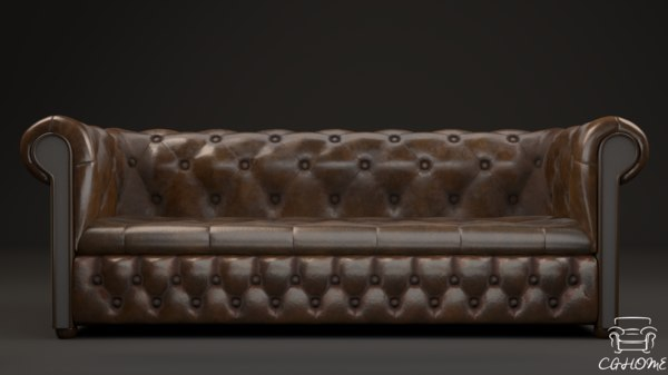 3D low-poly chesterfield couch