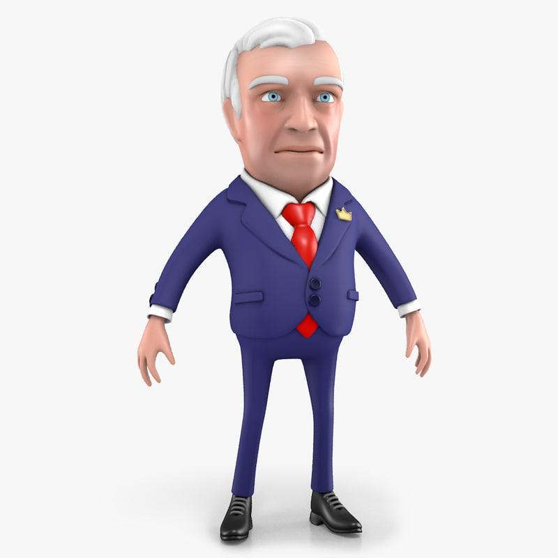 3D model cartoon boss character