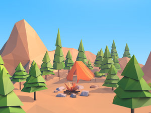 3D forest island