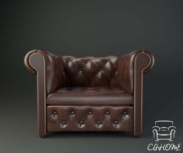 3D low-poly chesterfield chair
