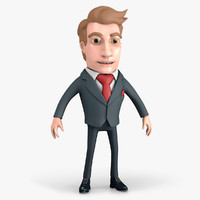 3D cartoon businessman character model