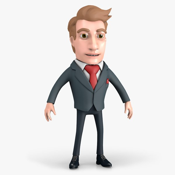 3D cartoon businessman character model