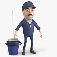 cartoon janitor model
