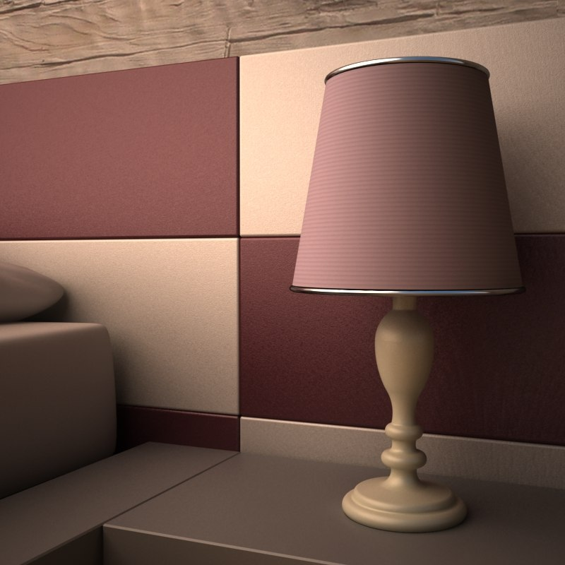lampshade bedroom bed 3D