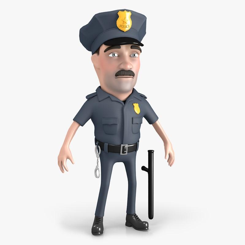 3D model policeman cartoon character