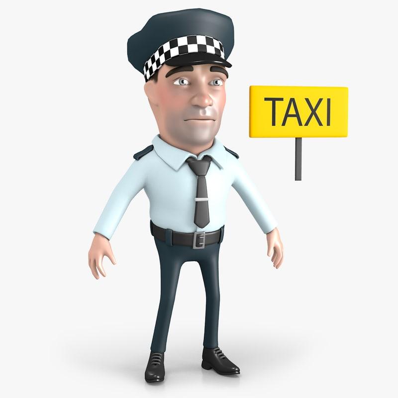 3D cartoon taxi driver model