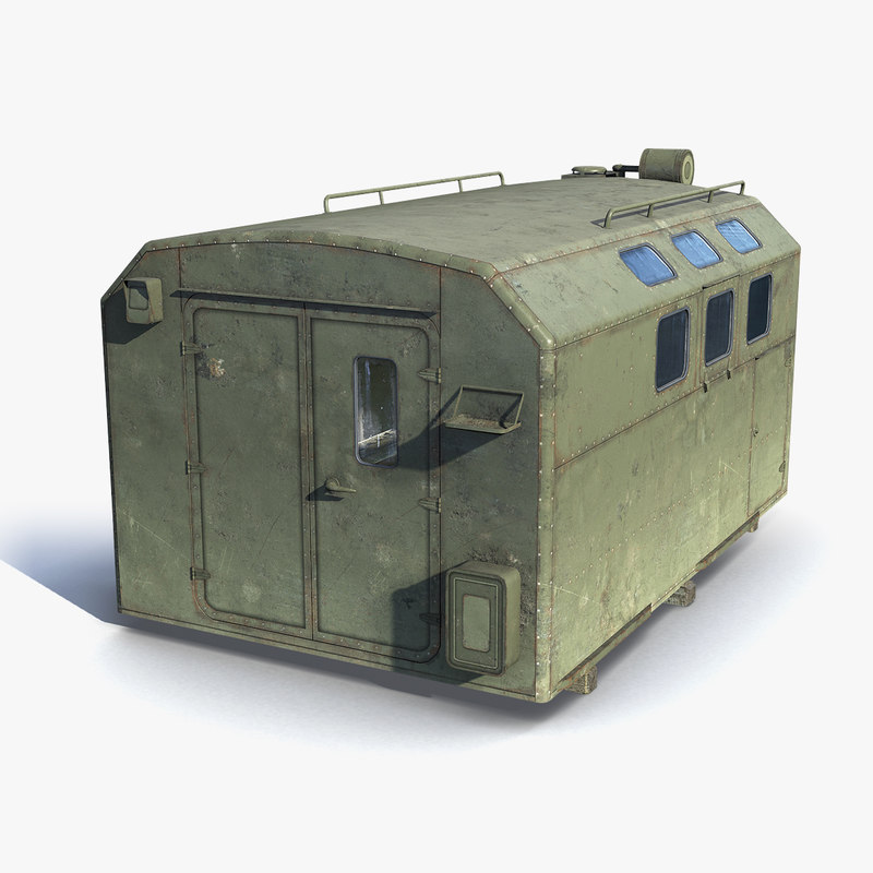 low-poly military vehicle trailer 3D model