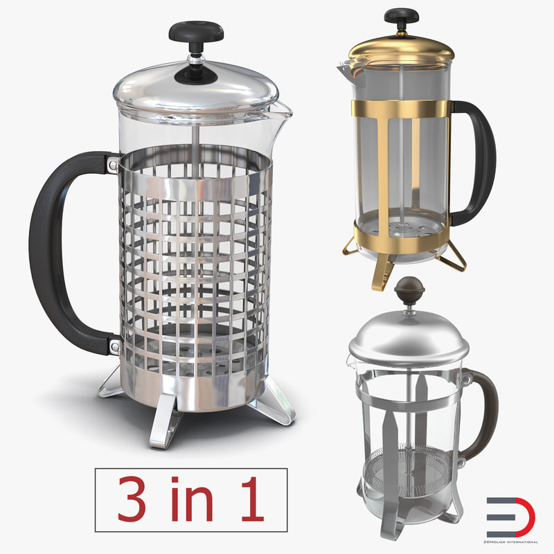 3D french press coffee pots
