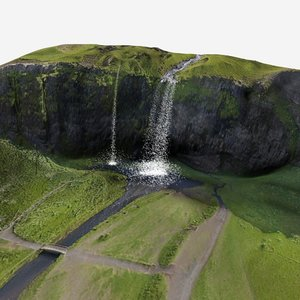 3D waterfall iceland model