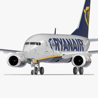 boeing 737-600 ryanair rigged 3D