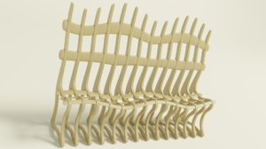 ribbed bench 3D model