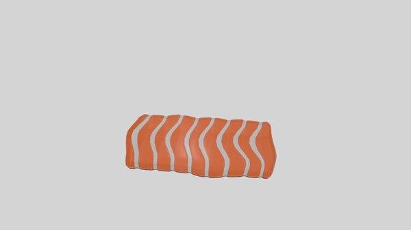 3D salmon raw model