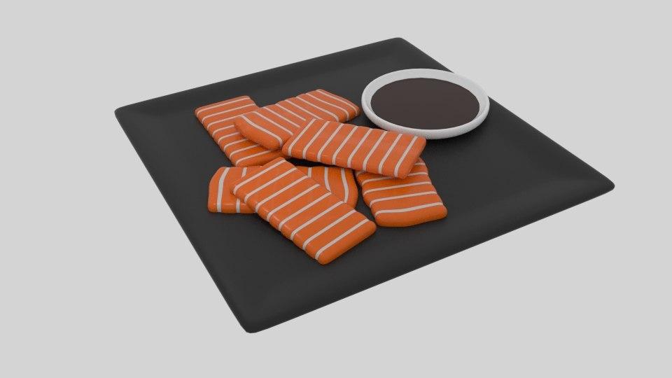 3D salmon sashimi