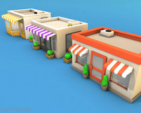 Cartoon City Buildings Low Poly