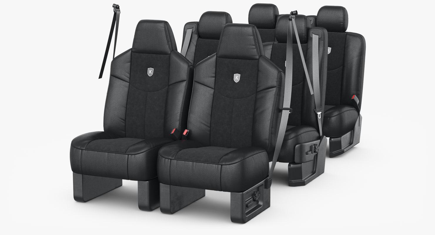 3D car seat set model