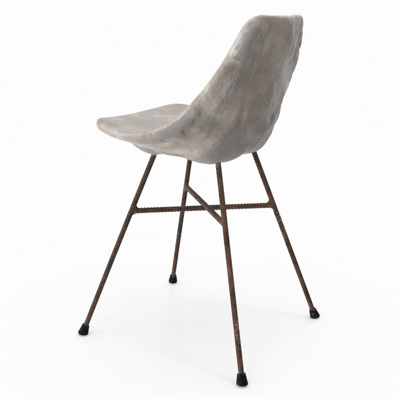 3D concrete chair design model