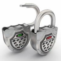 electronic padlock 3D