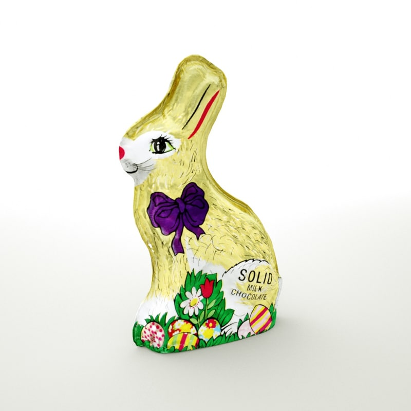 chocolate easter bunny wrapped 3D model