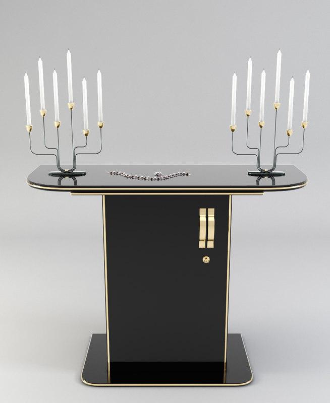 3D model black gold console decor