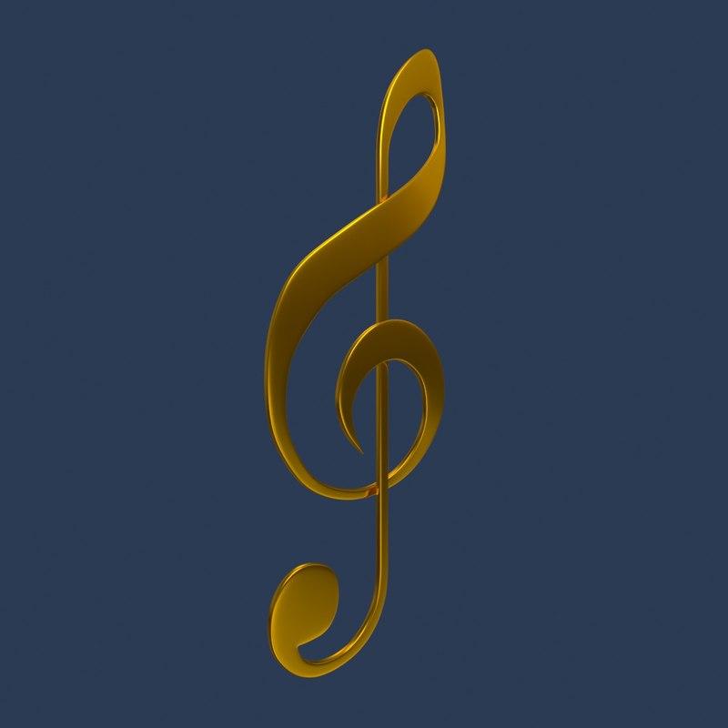 music clef 3D model