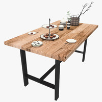 3D rustic table setting decor model