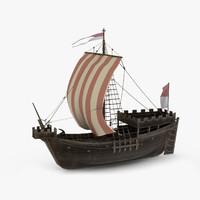 medieval ship cog 3D