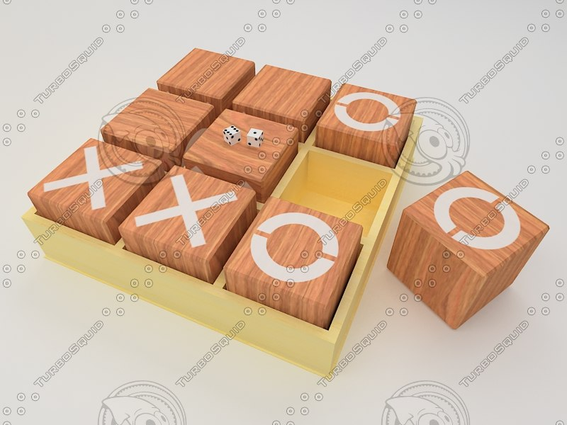 3D model wooden tictactoe