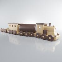 3D wooden train