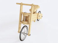 wooden push bike 3D
