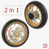 Sport Motorcycle Wheels 3D Models Collection